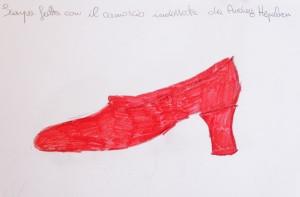 disegno di scarpa rossa da Ferragamo, matita