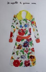 cappotto a fiori, con tecniche miste, laboratorio di moda per bambini a Firenze