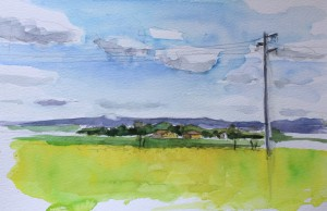 Landscape with view of tuscany, watercolor on paper
