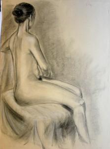nudo di schiena, carboncino, gessetto bianco