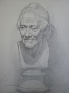 drawing from cast of Voltaire, pencil on paper