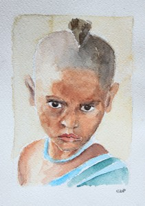 child, watercolor on paper