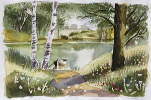 lake with trees with watercolor