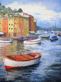 landscape with view of boats made with knife oil painting