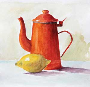 watercolor of a lemon and pot on paper