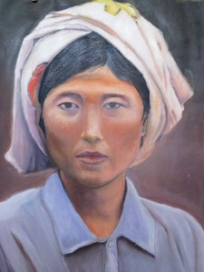 asian women portrait, oil painting on canvas