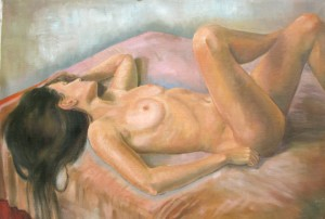 women nude laying in a bed painted with oil painting,